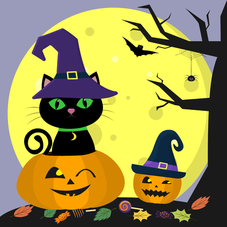 Happy Halloween. A black cat in a witch hat sits in a pumpkin. Nearby pumpkin, tree and spider. Full moon at night, bats, leaves and sweets. Vector, flat style, cartoon. Vettoriali