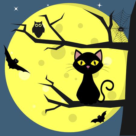 Felice Halloween. Un gatto nero si siede su un albero, sullo sfondo di una luna piena di notte. Gufo, ragno, ragnatele, vampiri volatili. Vacanze autunnali. Vettore, stile piatto, cartone animato.