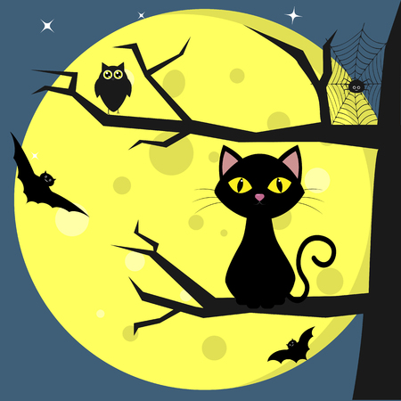Happy Halloween. A black cat sits on a tree, against a background of a full moon at night. Owl, spider, cobwebs, volatile vampires. Autumn holiday. Vector, flat style, cartoon.