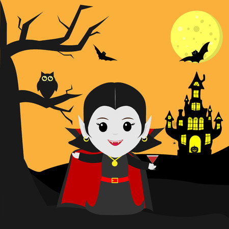 Happy Halloween. Vampire Dracula in the style of the cartoon stands next to the castle in the background of the moon at night. Holds a cocktail. A tree, an owl, flying vampires and stars. Vector, flat, cartoon.