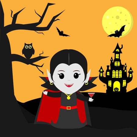 Feliz Halloween. El vampiro Drácula al estilo de la caricatura se encuentra junto al castillo en el fondo de la luna por la noche. Sostiene un cóctel. Un árbol, un búho, vampiros voladores y estrellas. Vector, plano, caricatura.