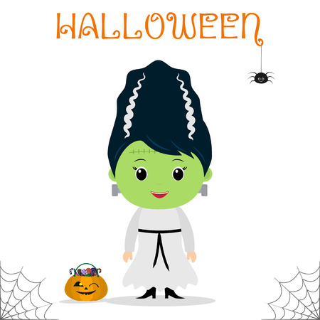 Cute child dressed in a Frankenstein bride costume, pumpkin with candies, celebration at a Halloween party, isolated on a white background. Flat style, cartoon, vector.