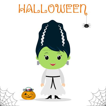 Enfant mignon vêtu d'un costume de mariée Frankenstein, citrouille avec des bonbons, célébration lors d'une fête d'Halloween, isolé sur fond blanc. Style plat, dessin animé, vecteur.