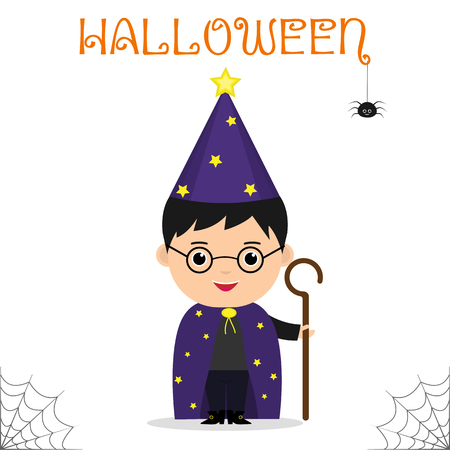 Cute child dressed in a suit of the astrologer mage with a staff celebrating at a Halloween party isolated on a white background. Flat style, cartoon, vector. Illustration
