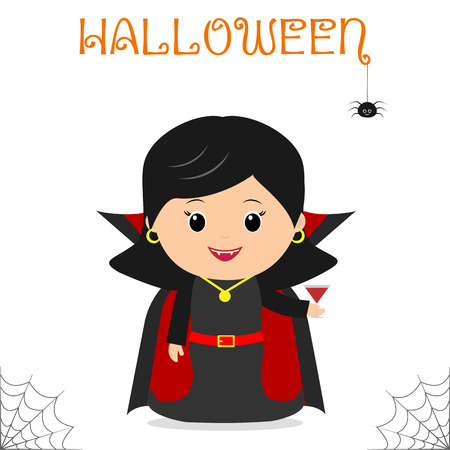 Cute child dressed in a vampire suit Dracula in a raincoat, celebrating at a Halloween party, isolated on a white background. Flat style, cartoon, vector.