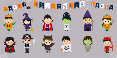 Mega set of Halloween symbols. Twelve pretty children in different costumes for Halloween isolated on a blue background. Cartoon, flat, vector. Vectores