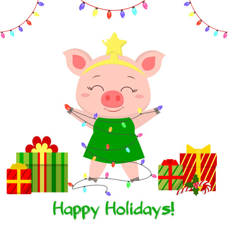 Happy New Year and Merry Christmas Greeting Card. A cute pig in the image of a Christmas tree is holding garlands, boxes of gifts. The symbol of the new year in the Chinese calendar. Vector.