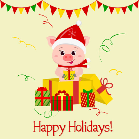 Happy New Year and Merry Christmas Greeting Card. A merry pig wearing a Santa Claus hat and scarf is standing in a gift box and holding a gift. The symbol of the new year in the Chinese calendar. 2019. Vector.
