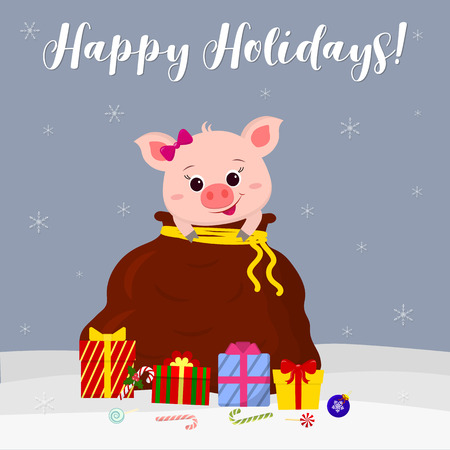 Happy New Year and Merry Christmas greeting card. Cute pig with a bow is looking out of Santa s bag. Boxes with Christmas gifts on a winter background. Flat style, vector.