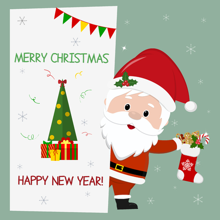 Happy New Year and Merry Christmas. Cute santa claus holding a christmas sock with gifts. He stands behind a signboard with a Christmas tree and a gift . Cartoon style, vector. 일러스트