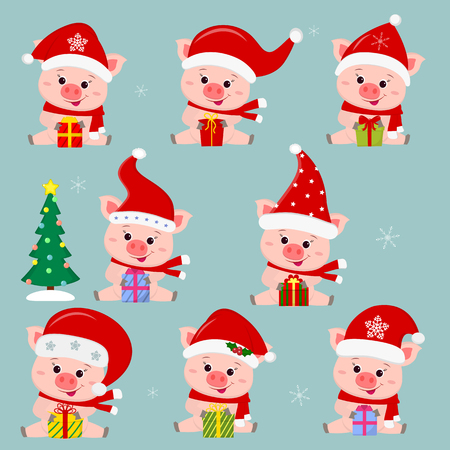 Set of eight cute pigs in different hats and a santa claus scarf. They sit and hold a box with a gift. Christmas tree. Happy New Year and Merry Christmas. The symbol of the Chinese New Year. Vector.  イラスト・ベクター素材