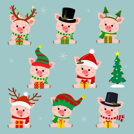 Set of eight cute pigs in different hats and a scarf. They sit and hold a box with a gift. Christmas tree. Happy New Year and Merry Christmas. The symbol of the Chinese New Year. Vector.  イラスト・ベクター素材