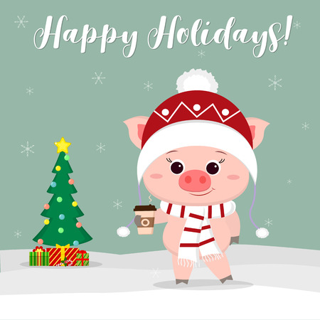 New Year and Christmas card. Cute pig in a hat and scarf holding a glass of coffee on the background of winter and snowflakes. Christmas tree and gifts. Vector, cartoon style.