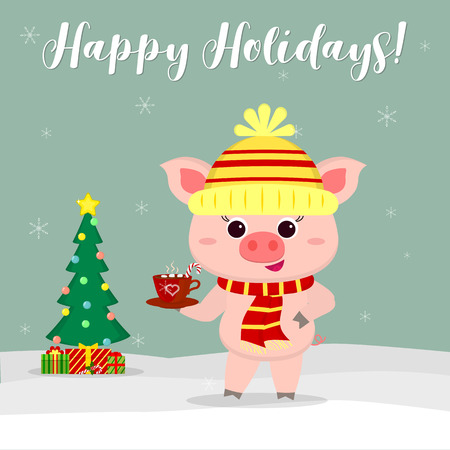 New Year and Christmas card. Cute pig in a hat and scarf holding a cup of cocoa and marshmallows on a background of winter and snowflakes. Christmas tree and gifts. Vector , cartoon style.