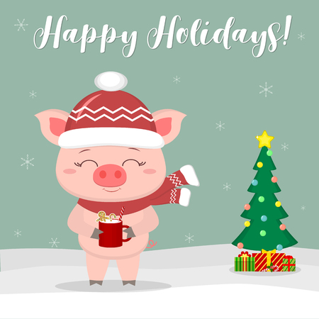 New Year and Christmas card. Cute pig in a hat and scarf, holding a cup with milk and ginger biscuits against the background of winter and snowflakes. Christmas tree and gifts. Vector, cartoon style. Ilustracja