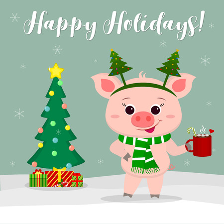 New Year and Christmas card. Cute pig in a Christmas tree costume, holding a cup of cocoa and marshmallow on a background of winter and snowflakes. Christmas tree and gifts. Vector, cartoon style. Ilustracja