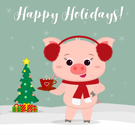 New Year and Christmas card. Cute pig wearing red fur earphones, holding a cup of hot chocolate and marshmallow on a background of winter and snowflakes. Christmas tree and gifts. Vector, cartoon
