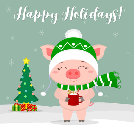 New Year and Christmas card. Cute pig in a hat and scarf, holding a cup with milk and ginger biscuits against the background of winter and snowflakes. Christmas tree and gifts. Vector, cartoon style. Illustration