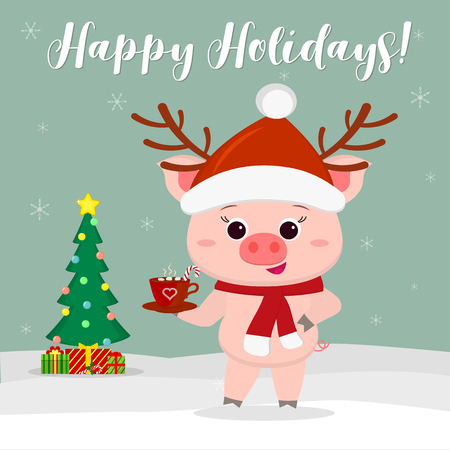 New Year and Christmas card. A cute pig wearing a santa hat and deer antlers and a scarf holding a cup of cocoa on a background of winter and snowflake. Christmas tree and gifts. Vector, cartoon Illustration
