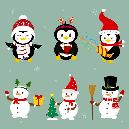 New Year and Christmas card. Set of three penguins and three snowmen characters in different hats and poses in winter. Christmas tree, gifts, confetti. Cartoon style, vector.
