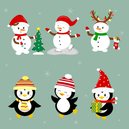 New Year and Christmas card. A set of three penguins and three snowmen characters in different hats and poses in winter. Christmas tree, gifts, skate. Cartoon style, vector. Ilustracja