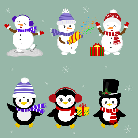 New Year and Christmas card. A set of three penguins and three snowmen characters in different hats and poses in winter. Box gifts, crackers with confetti. Cartoon style, vector.