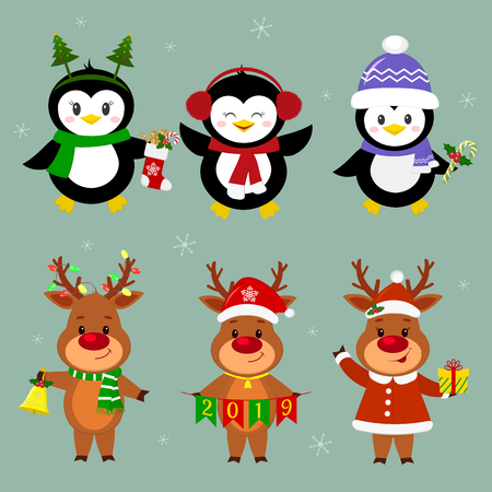 New Year and Christmas card. A set of three penguins and three deer characters in different hats and poses in winter. Box with a gift, candy, sock, bell. Cartoon style, vector. Illustration