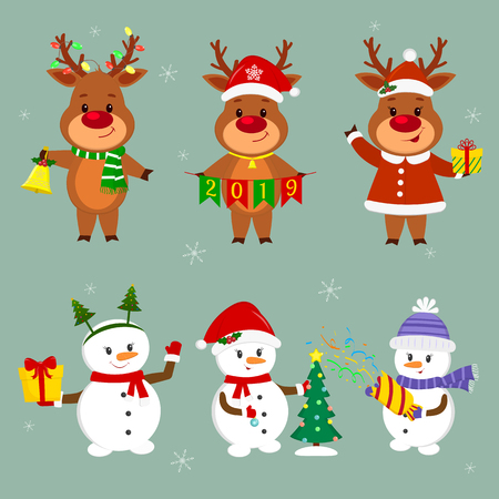 New Year and Christmas card. A set of three snowmen and three deer characters in different hats and poses in winter. Christmas tree, box with gift, cracker, bell. Cartoon style, vector. Illustration