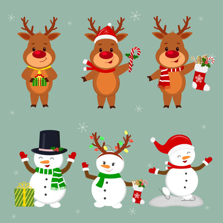 New Year and Christmas card. A set of three snowmen and three deer characters in different hats and poses in winter. Box with a gift, sock and ginger biscuits. Cartoon style, vector.