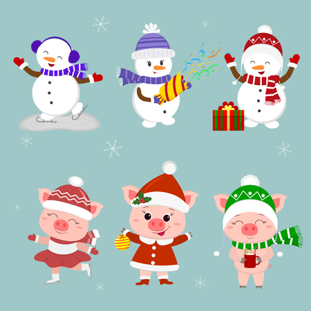 New Year and Christmas card. A set of three snowmen and three pigs character in different hats and poses in winter. Gift box, skating rink, crackers, drink. Cartoon style, vector. Ilustracja
