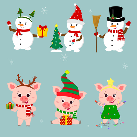 New Year and Christmas card. A set of three snowmen and three pigs character in different hats and poses in winter. Gift box, Christmas tree. Cartoon style, vector.
