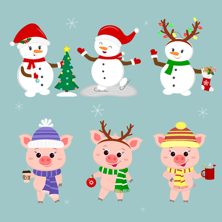 New Year and Christmas card. A set of three snowmen and three pigs is typical in different hats and poses in winter. Christmas tree, sock with cookies, hot drinks. Cartoon style, vector. Ilustracja