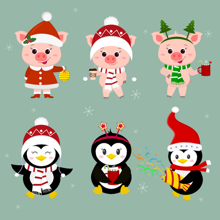 New Year and Christmas card. A set of three piglets and three penguins character in different hats and poses in winter. Gift box, poppers, hot drink. Cartoon style, vector. Illustration
