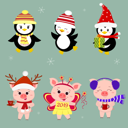 New Year and Christmas card. A set of three piglets and three penguins is typical in different hats and poses in winter. Gift box, fairy butterfly, hot drink. Cartoon style, vector.