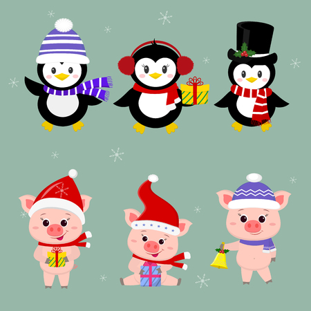 New Year and Christmas card. A set of three piglets and three penguins is typical in different hats and poses in winter. Gift box, bell. Cartoon style, vector.