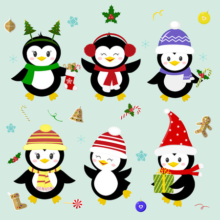 Set of six lucky Christmas penguin character in different hats and accessories. Celebrates New Year and Christmas. Cartoon style, vector. Illustration