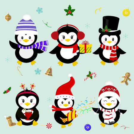 Set of six lucky Christmas penguin character in different hats and accessories. Celebrates New Year and Christmas. Cartoon style, vector. Ilustracja