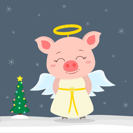 Happy New Year and Merry Christmas greeting card. Cute little pigs in angel costume. Christmas tree in winter. The symbol of the new year in the Chinese calendar. Vector.
