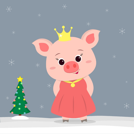 Happy New Year and Merry Christmas greeting card. Cute little pigs in Princess costume. Christmas tree in winter. The symbol of the new year in the Chinese calendar. Vector.