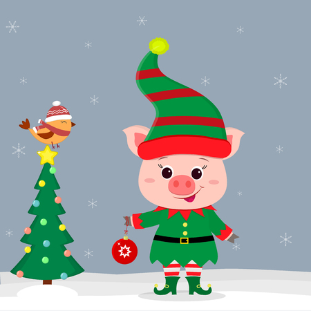 Happy New Year and Merry Christmas Greeting Card. Cute little pig in an elf costume holding a ball. Christmas tree and little bird in a hat in winter. New year in the Chinese calendar. Vector. Ilustracja