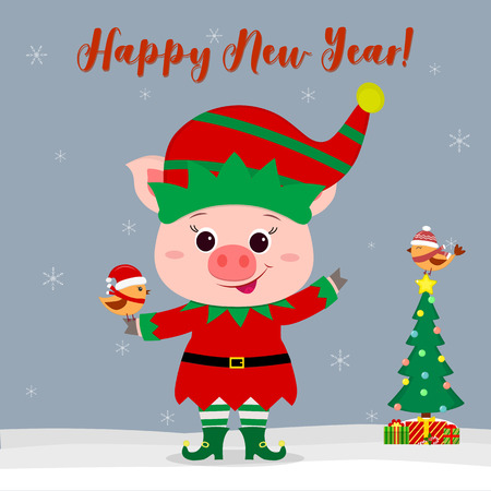 Happy New Year and Merry Christmas greeting card. Cute little pig in an elf costume holding a little bird. Christmas tree with gifts and a little bird in a winter hat. Vector. Illustration
