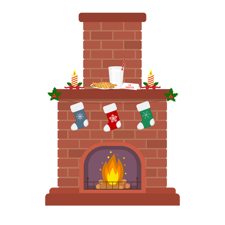 Christmas fireplace on a white background. Candles, milk and biscuits for Santa. Socks for gifts. New year and merry christmas. Flat style vector.