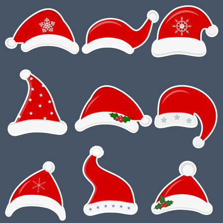 Happy New Year and Merry Christmas. Set of nine different santa hats stickers with various accessories isolated on dark background. Flat style, vector.