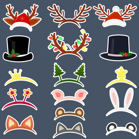 Happy New Year and Merry Christmas. Set of sixteen different hats of stickers and accessories for the Christmas holidays in a white stroke on a dark background. Flat style, vector.