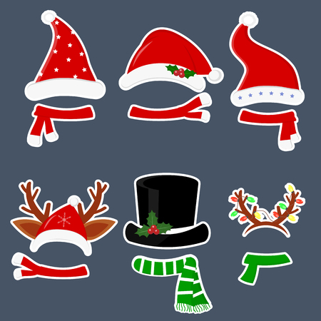 Happy New Year and Merry Christmas. Set of six different stickers of hats and scarves with various accessories for the Christmas holidays in a white stroke on a dark background. Flat style, vector.