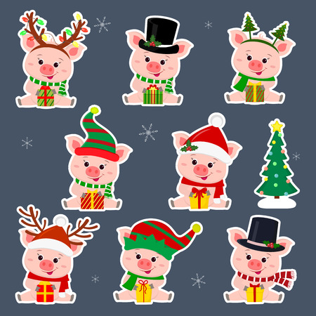 Set of eight stickers of cute pigs in different hats and Santa Claus scarf in white stroke. They sit and hold a box with a gift. Christmas tree. The symbol of the Chinese New Year. Vector.  イラスト・ベクター素材