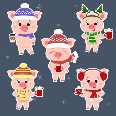 A set of five stickers of pigs in different hats and a scarf with cups of different hot drinks in a white stroke. Happy New Year and Merry Christmas. The symbol of the Chinese New Year. Vector. Ilustracja