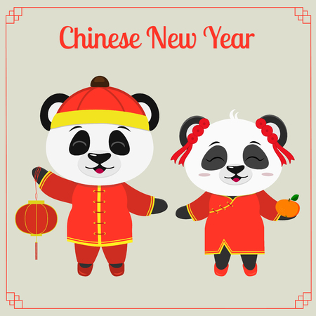 Greeting card with chinese year. Two pandas a boy and a girl in Chinese red suits with a flashlight and tangerine. Symbol of 2019 in the Chinese calendar. Vector. Stock Illustratie