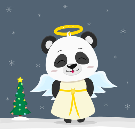 Happy New Year and Merry Christmas Greeting Card. Cute little panda in angel costume. Christmas tree in winter. The symbol of the new year in the Chinese calendar. Vector. Illustration