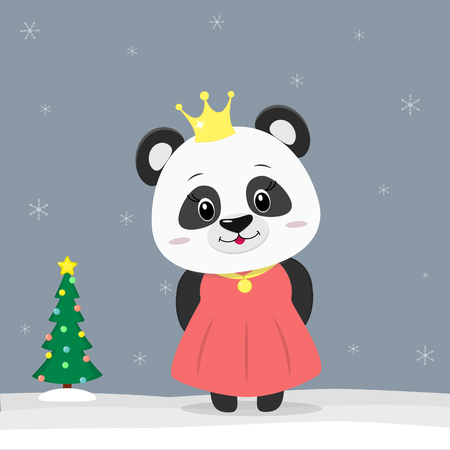 Happy New Year and Merry Christmas Greeting Card. Cute little panda dressed as a princess. Christmas tree in winter. The symbol of the new year in the Chinese calendar. Vector. Illustration